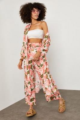 XHAN - Pembe Çiçek Desenli Kimono Takım 1YXK2-45151-20