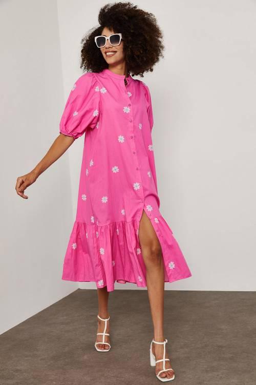 XHAN - Pembe Papatya Desenli Elbise 1YXK6-45252-20