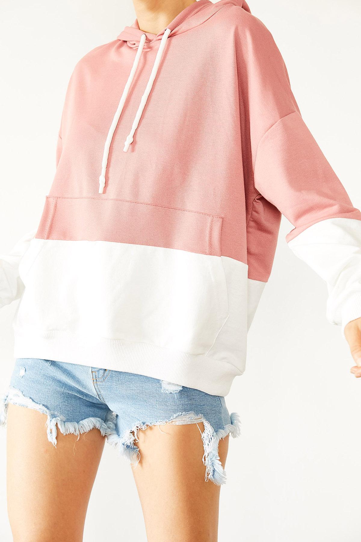 XHAN - Pudra & Beyaz Parçalı Sweatshirt 1KXK8-44526-50