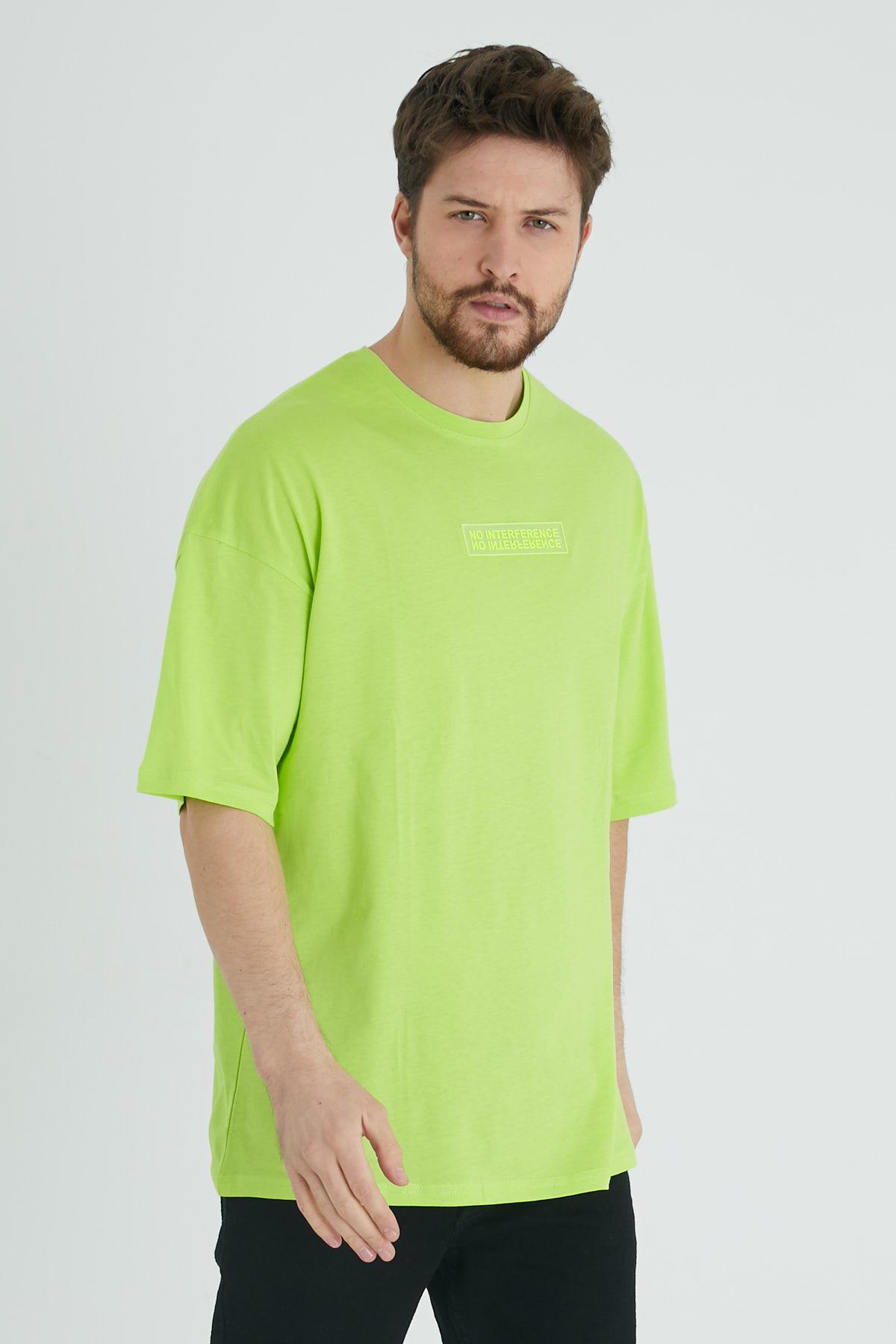 XHAN - Sarı Baskılı Oversize T-Shirt 1KXE1-44677-10