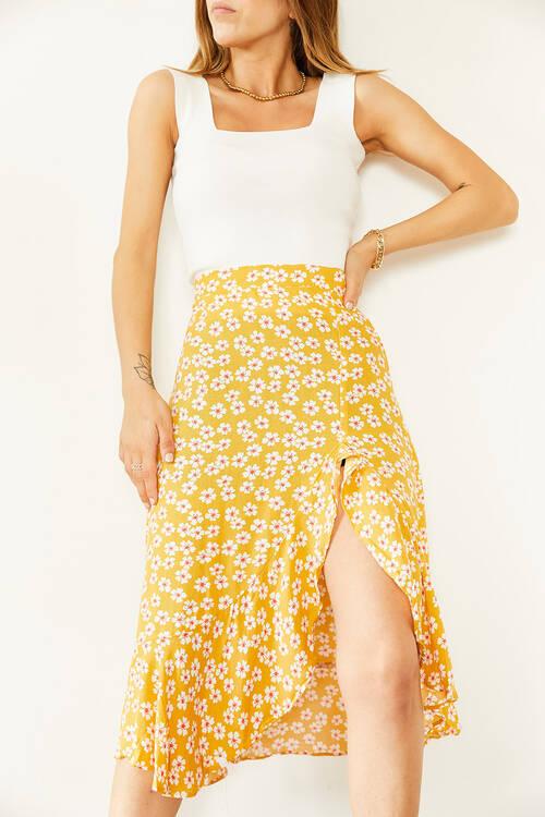 XHAN - Sarı & Beyaz Çiçek Desenli Fırfırlı Etek 0YXK7-43876-10