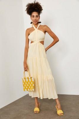 XHAN - Sarı Boyundan Bağlamalı Midi Boy Elbise 1YXK6-45192-10