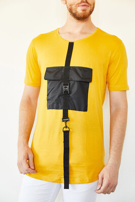 XHAN - Sarı Cep Detaylı Uzun T-Shirt 0YXE1-44108-10