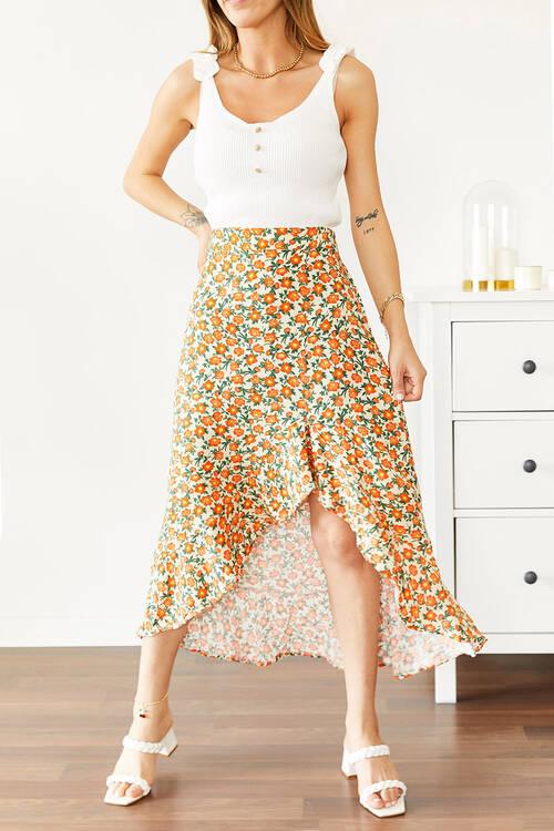 XHAN - Sarı Çiçek Desenli Fırfırlı Etek 0YXK7-43875-10