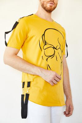 XHAN - Sarı Kuru Kafa Baskılı Şerit Detaylı Uzun T-Shirt 0YXE1-44106-10