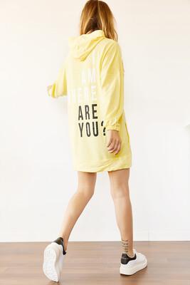 XHAN - Sarı Sırt Baskılı Sweatshirt Elbise 0YXK8-44006-10