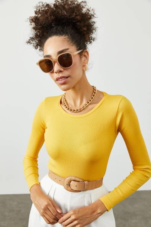 XHAN - Sarı Yuvarlak Yaka Kaşkorse Bluz 2KXK2-45456-10