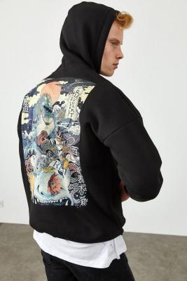 XHAN - Siyah Arkası Baskı Detaylı Kapüşonlu Sweatshirt 2KXE8-45367-02