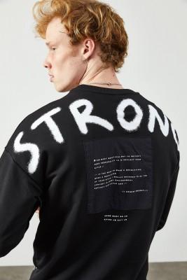 XHAN - Siyah Arkası Baskı Detaylı Sweatshirt 2KXE8-45360-02