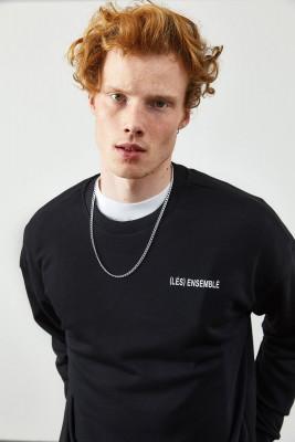 XHAN - Siyah Arkası Baskı Detaylı Sweatshirt 2KXE8-45365-02