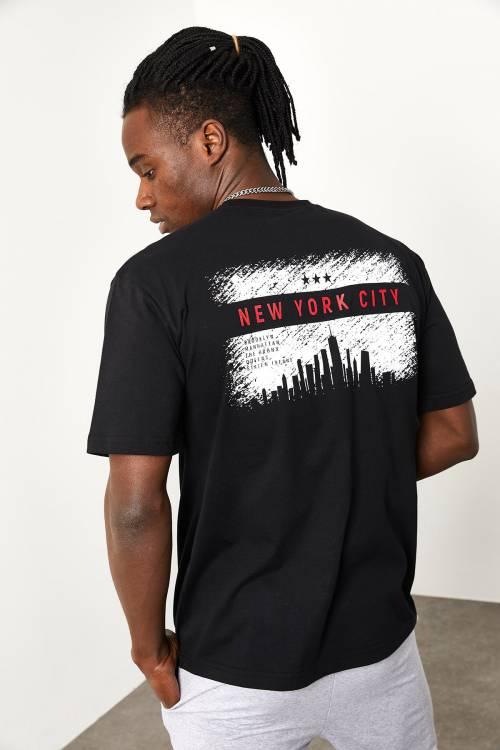 XHAN - Siyah Arkası Baskılı T-shirt 1YXE1-44948-02