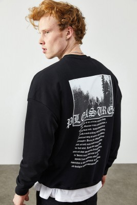 XHAN - Siyah Arkası Baskılı & Yazılı Sweatshirt 2KXE8-45355-02