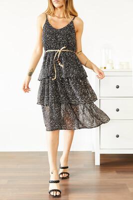 XHAN - Siyah Askılı Desenli Şifon Elbise 0YXK6-43866-02