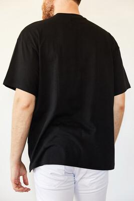 XHAN - Siyah Basic Bol Kesim Oversize T-Shirt 0YXE1-44124-02