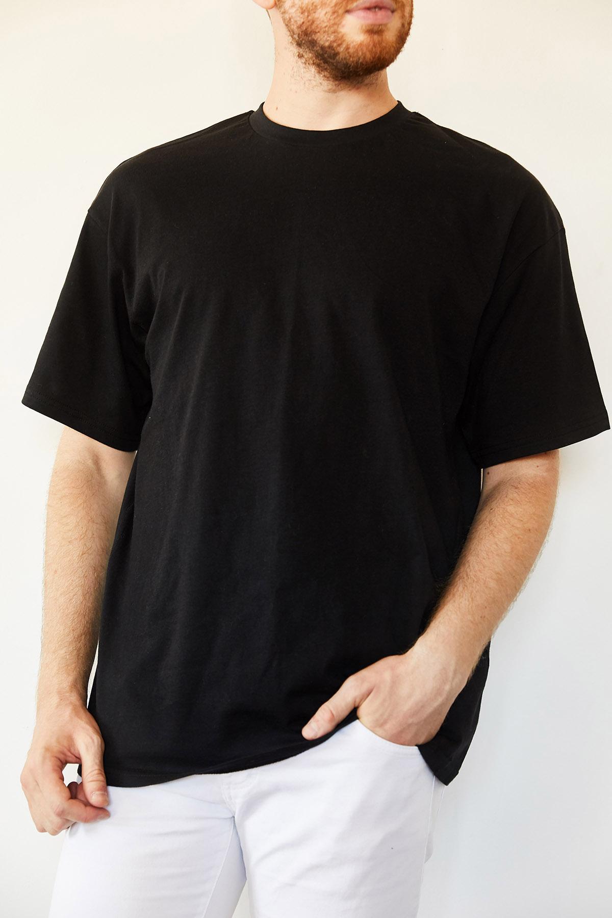 Siyah Basic Bol Kesim Oversize T-Shirt 0YXE1-44124-02 - Thumbnail