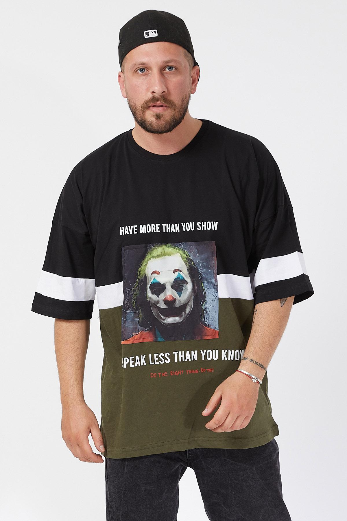XHAN - Siyah Baskılı Bloklu Oversie T-Shirt 1KXE1-44593-02