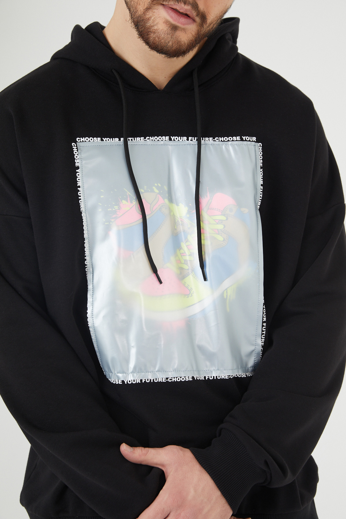 XHAN - Siyah Baskılı Kapüşonlu Sweatshirt 1KXE8-44393-02