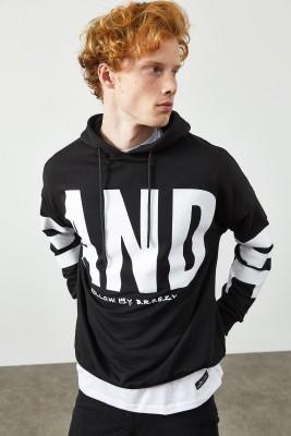Siyah Baskılı Kapüşonlu Sweatshirt 2KXE8-45372-02 - Thumbnail
