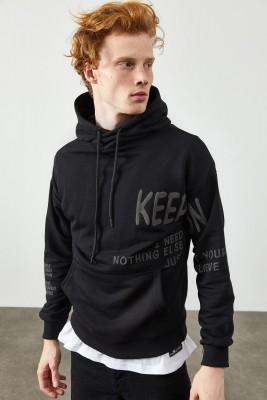 XHAN - Siyah Baskılı Kapüşonlu Sweatshirt 2KXE8-45373-02