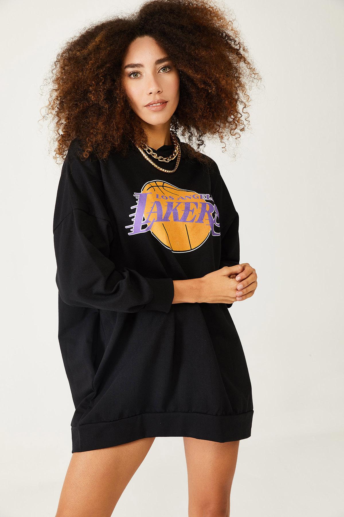 XHAN - Siyah Baskılı Kapüşonlu Uzun Oversize Sweatshirt 1KXK6-44418-02