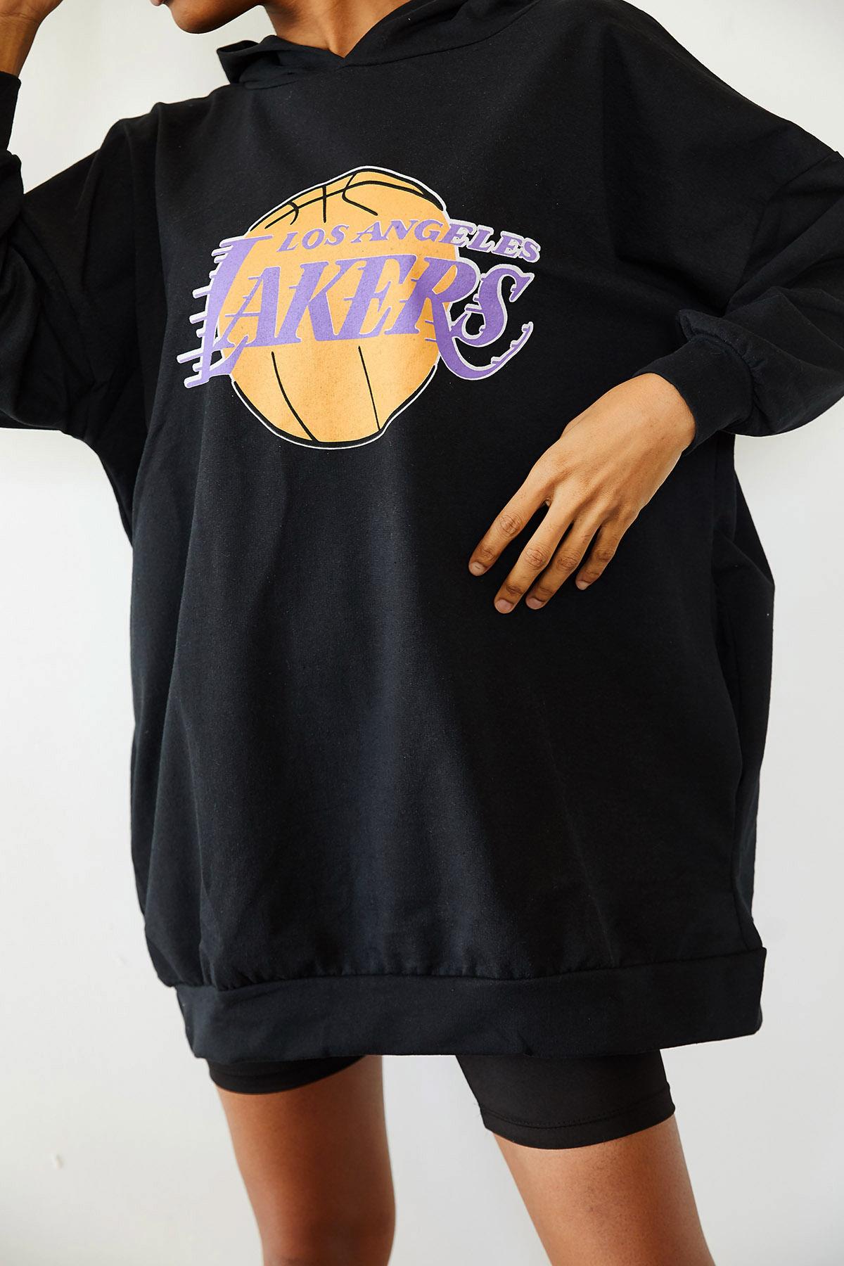XHAN - Siyah Baskılı Kapüşonlu Uzun Oversize Sweatshirt 1KXK8-44692-02