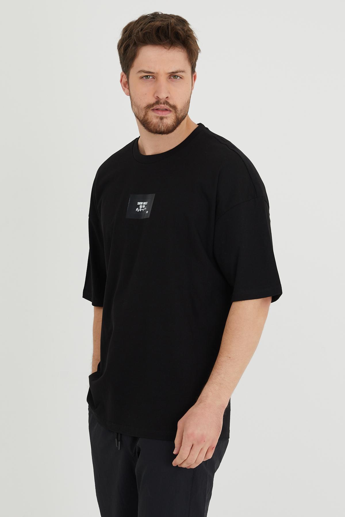 XHAN - Siyah Baskılı Oversize T-Shirt 1KXE1-44634-02