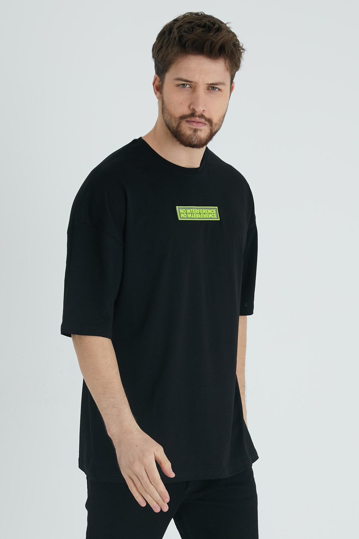 XHAN - Siyah Baskılı Oversize T-Shirt 1KXE1-44677-02