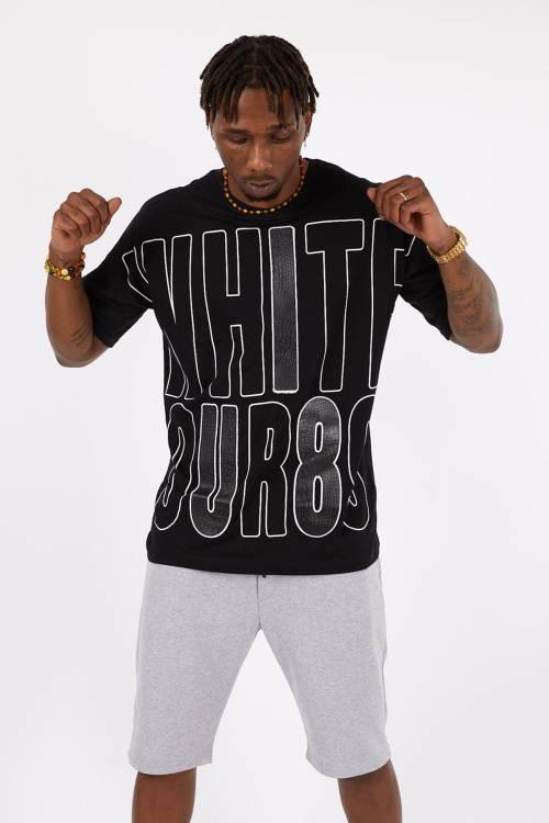 XHAN - Siyah Baskılı Oversize T-Shirt 1YXE1-45113-02