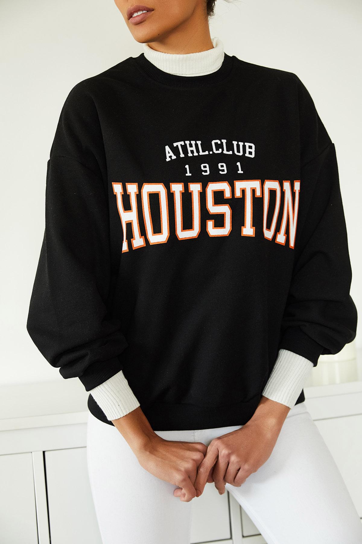 XHAN - Siyah Baskılı Polarlı Sweatshirt 1KXK8-44719-02