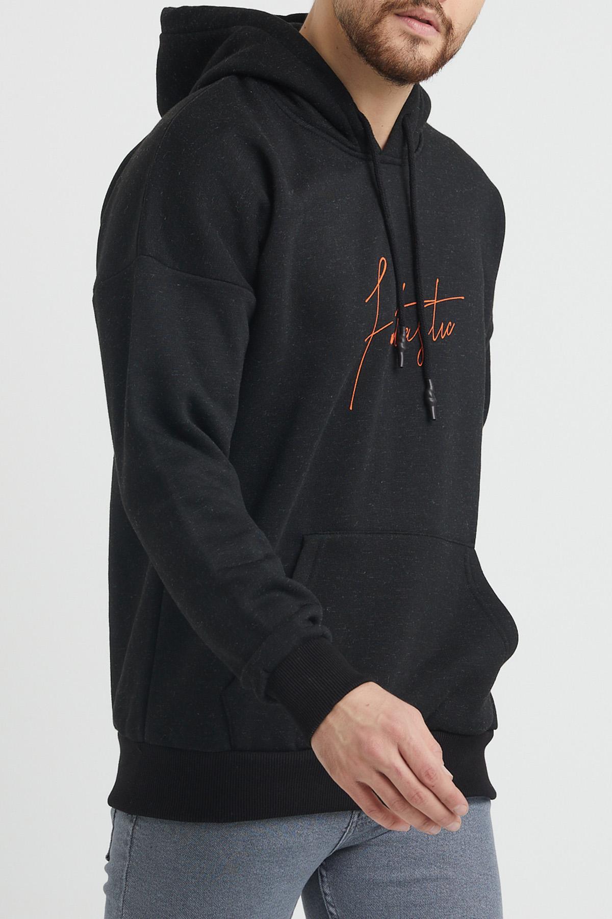 XHAN - Siyah Baskılı Sweatshirt 1KXE8-44367-02
