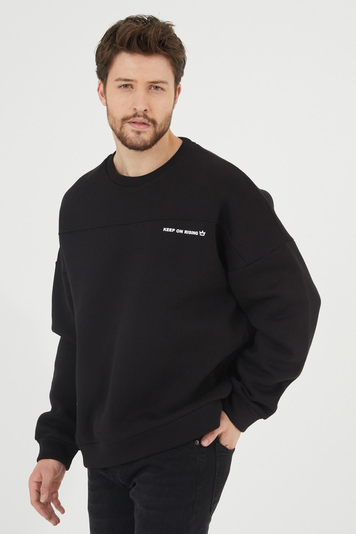 XHAN - Siyah Baskılı Sweatshirt 1KXE8-44447-02