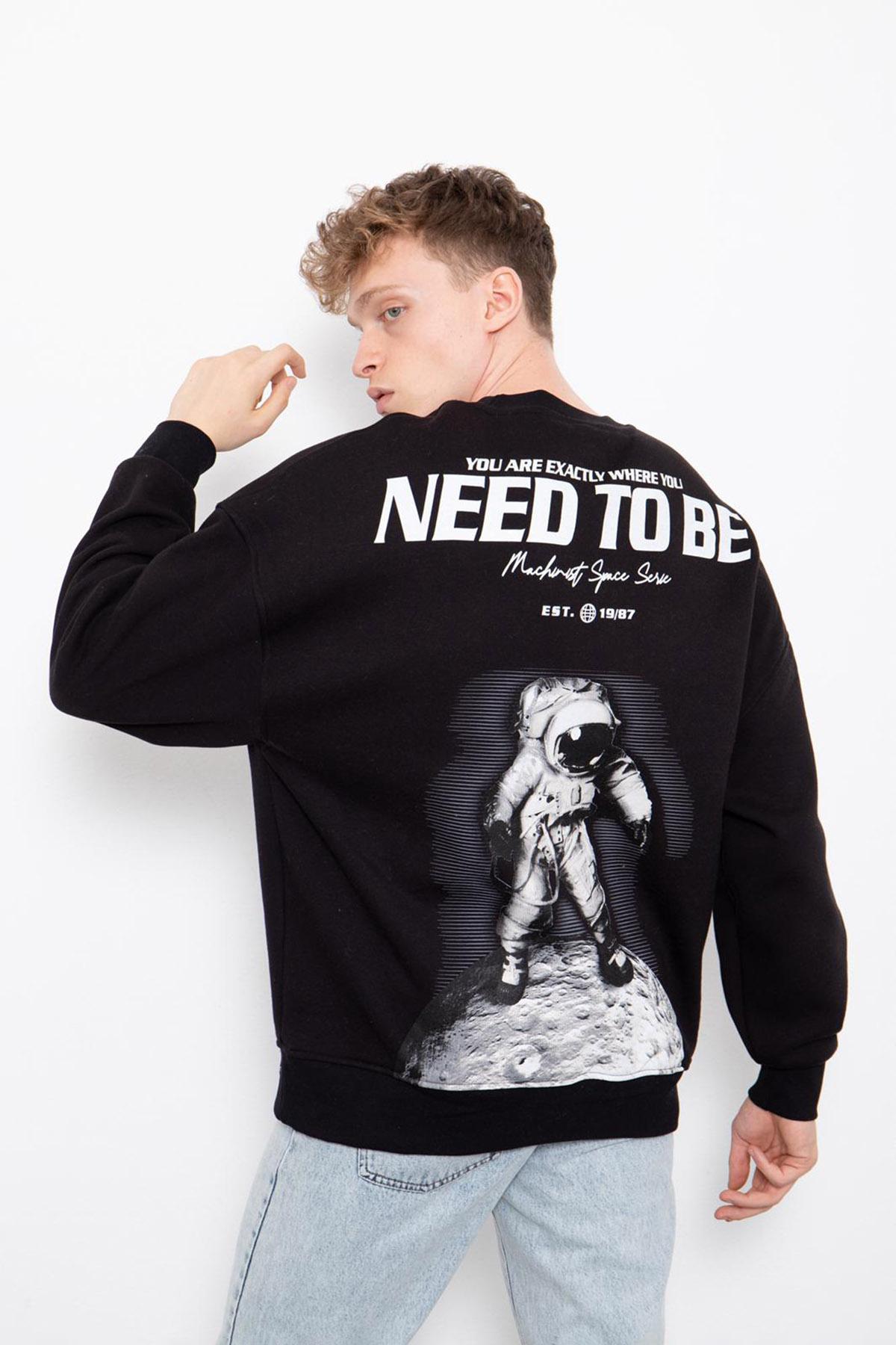 Siyah Baskılı Sweatshirt 2KXE8-45405-02
