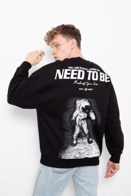 XHAN - Siyah Baskılı Sweatshirt 2KXE8-45405-02