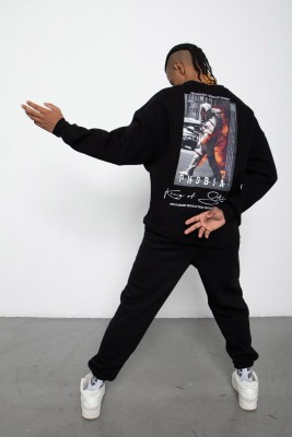 XHAN - Siyah Baskılı Sweatshirt 2KXE8-45406-02