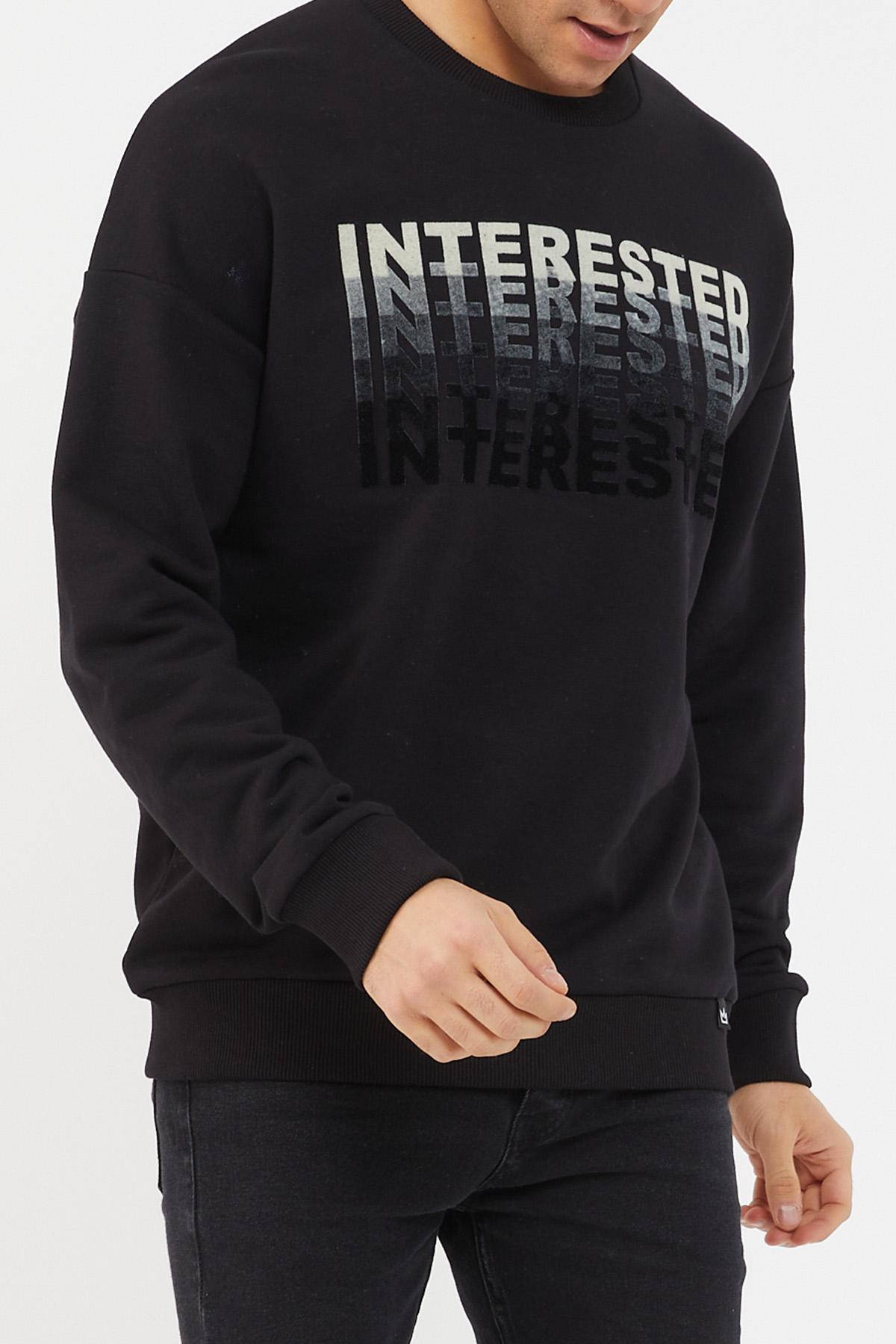 XHAN - Siyah Baskılı Yumuşak Dokulu Sweatshirt 1KXE8-44471-02