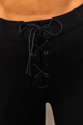 Siyah Beli Bağcık Detaylı Tayt 1YXK5-45284-02 - Thumbnail