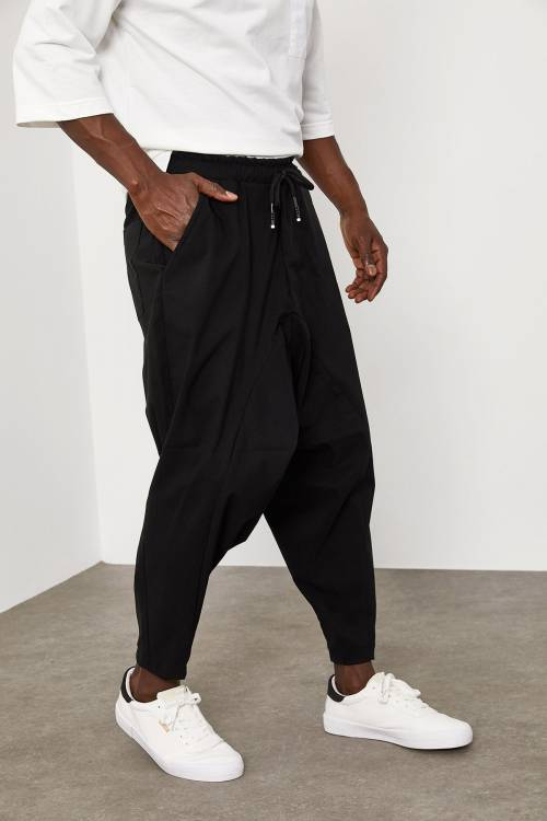 XHAN - Siyah Beli Lastikli&Bağcıklı Şalvar Pantolon 1YXE5-45103-02