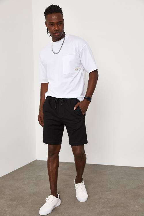 XHAN - Siyah Beli Lastikli&Bağcıklı Şort 1YXE5-45108-02