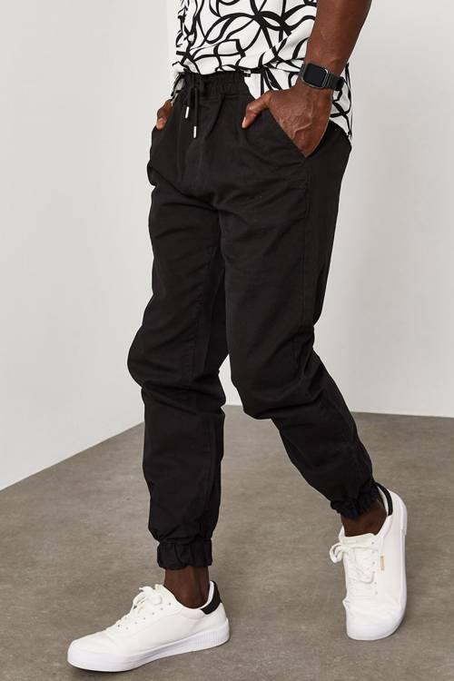 XHAN - Siyah Beli&Paçası Lastikli Pantolon 1YXE5-45104-02