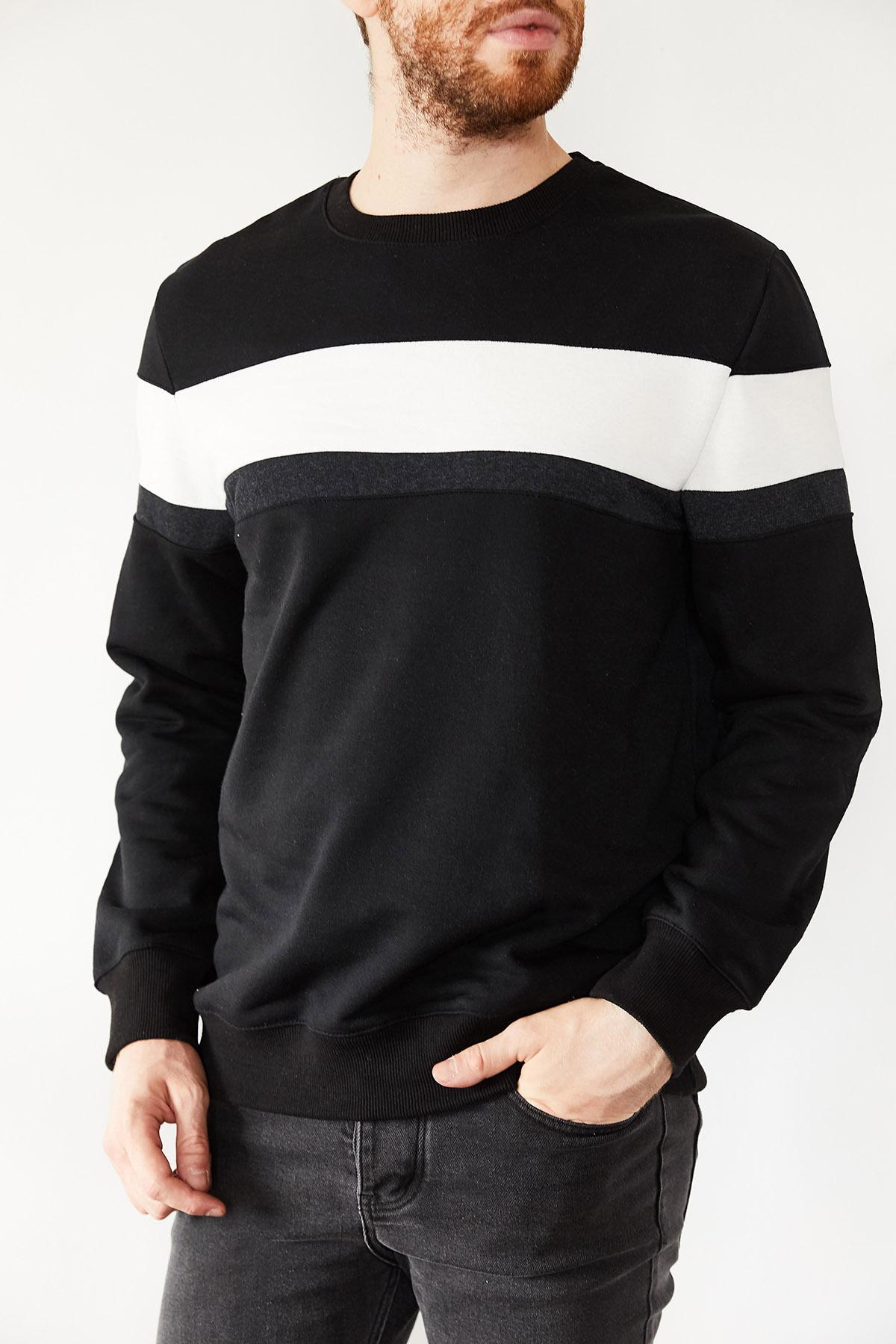 - Siyah & Beyaz Bloklu Üç İplik Bisiklet Yaka Sweatshirt 1KXE8-44134-02
