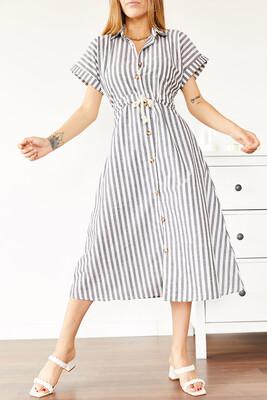 XHAN - Siyah & Beyaz Çizgili Gömlek Elbise 0YXK6-43965-02