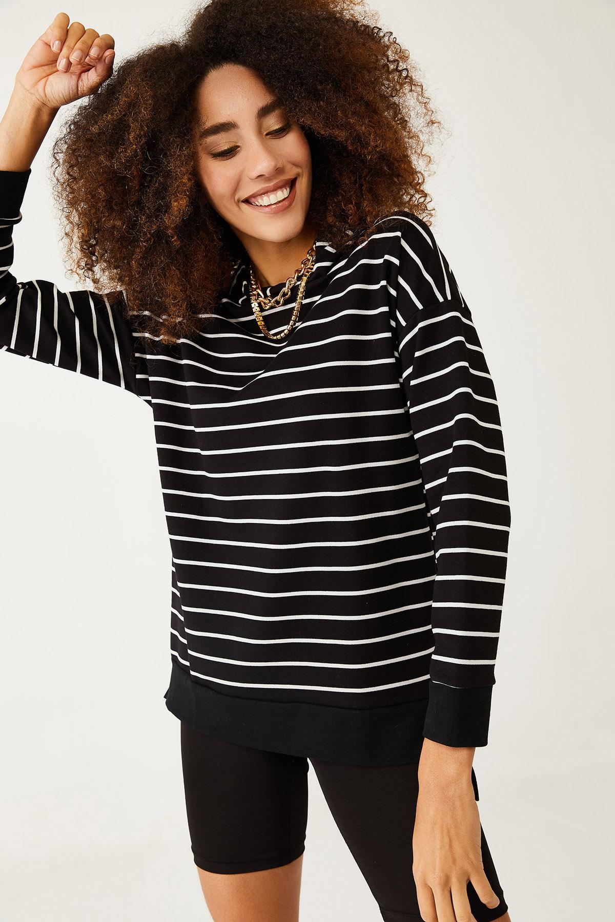 XHAN - Siyah & Beyaz Çizgili Sweatshirt 1KXK8-44429-02