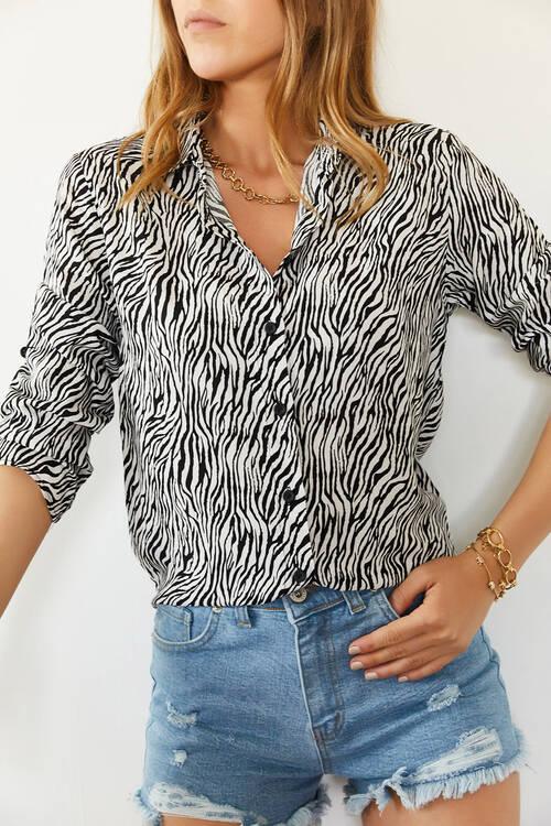 XHAN - Siyah & Beyaz Desenli Yarasa Kol Gömlek 0YXK2-43946-02