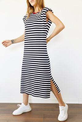 XHAN - Siyah & Beyaz Vatkalı Çizgili Yanı Yırtmaçlı Elbise 0YXK6-43950-02