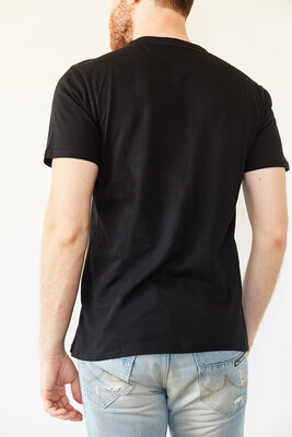 XHAN - Siyah Bisiklet Yaka Basic T-Shirt 0YXE1-44069-02
