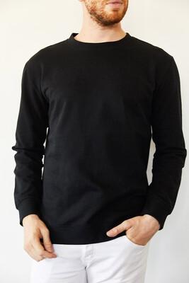 XHAN - Siyah Bisiklet Yaka İki İplik Şardonsuz Basic Sweatshirt 0YXE8-44092-02