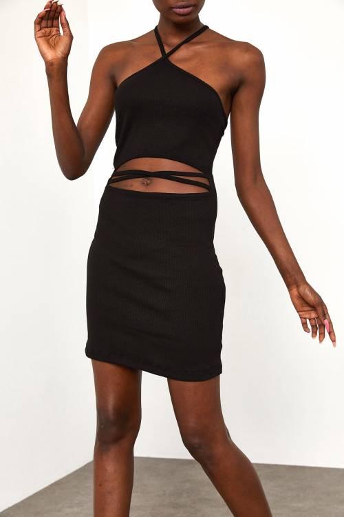 XHAN - Siyah Biye Detaylı Fitilli Elbise 1YZK6-11817-02