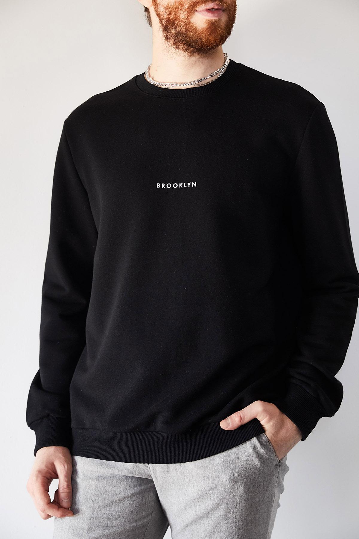 - Siyah Brooklyn Baskılı Sweatshirt 1KXE8-44229-02
