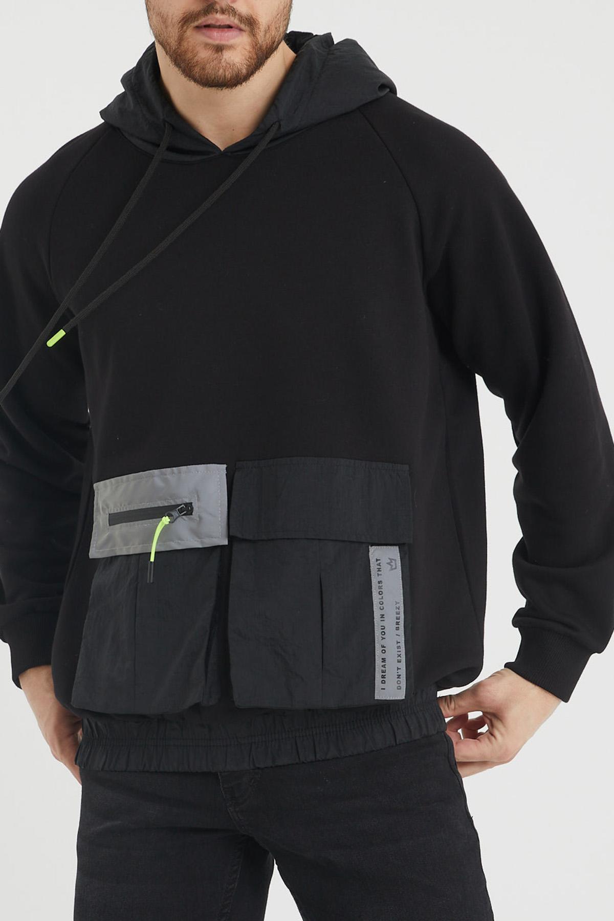 XHAN - Siyah Cep Detaylı Kapüşonlu Sweatshirt 1KXE8-44392-02
