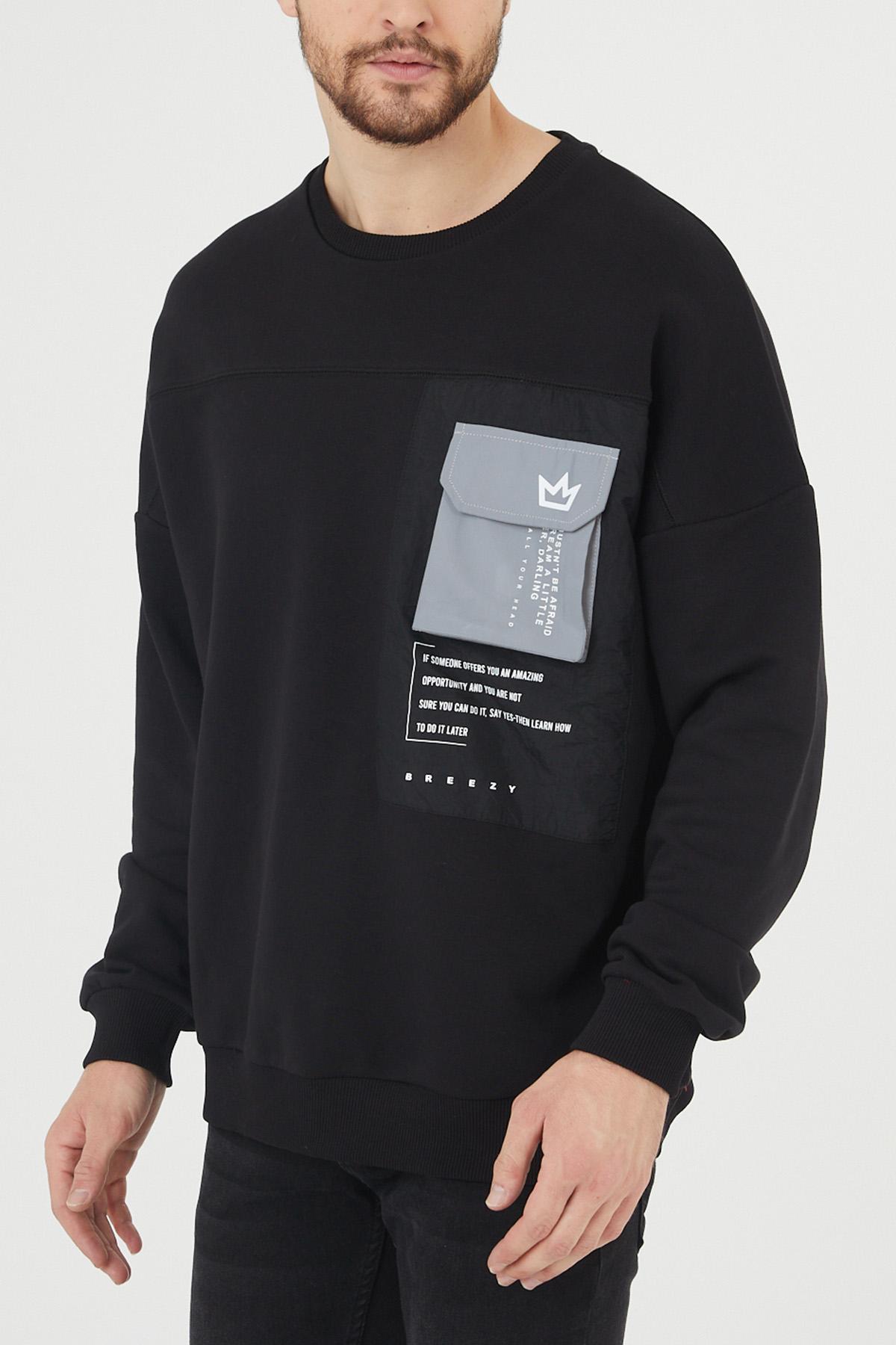 XHAN - Siyah Cep Detaylı Sweatshirt 1KXE8-44395-02